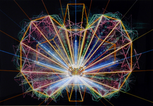 Long Exposure of an arcade game screen by Rosemarie Fiore